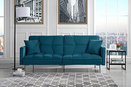 Modern Plush Tufted Velvet Splitback Living Room Futon (Sky Blue)