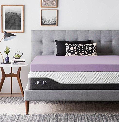 LUCID 4 Inch Lavender Infused Memory Foam Mattress Topper – Ventilated Design – Full Size