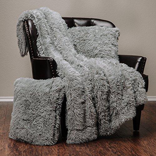 Chanasya Super Soft Long Shaggy Chic Fuzzy Fur Faux Fur Warm Elegant Cozy With Fluffy Sherpa Gray Microfiber Throw Blanket (50″ x 65″) & two Pillow Covers ( 18″x 18″) Set