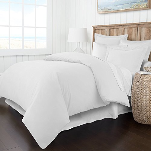 Italian Luxury Soft Brushed 1500 Series Microfiber Duvet Cover Set – Hotel Quality & Hypoallergenic with Zippered Closure & Matching Shams – Full/Queen – White
