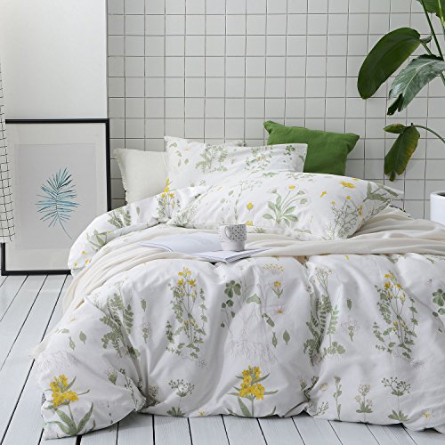 Botanical Duvet Cover Set, 100% Cotton Bedding, Yellow Flowers and Green Leaves Floral Garden Pattern Printed on White (3pcs, King Size)