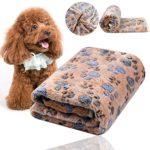 Comsmart Puppy Blanket Warm Dog Cat Flannel Blankets Mat Bed Cover with Paw Print Soft for Kitties Puppies and Other Small Animals (Brown)
