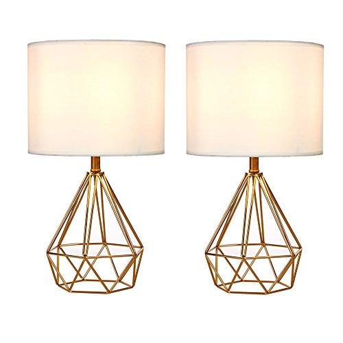 SOTTAE Golden Hollowed Out Base Modern Desk Lamp Bedroom Livingroom Beside Table Lamp, White Fabric Shade( Set of 2 )