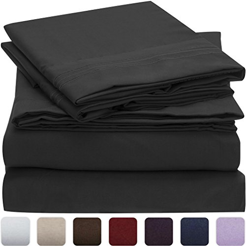 Mellanni 3pcs Bed Sheet Set – HIGHEST QUALITY Brushed Microfiber 1800 Bedding – Wrinkle, Fade, Stain Resistant – Hypoallergenic – 3 Piece – 1 Fitted Sheet and 2 Pillowcases (Queen, Black)