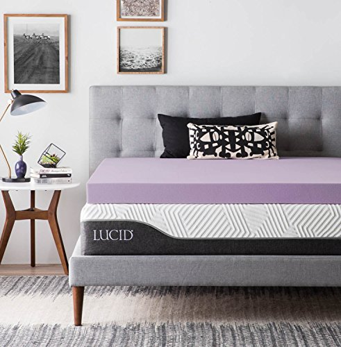 LUCID 4 Inch Lavender Infused Memory Foam Mattress Topper – Ventilated Design – Queen Size