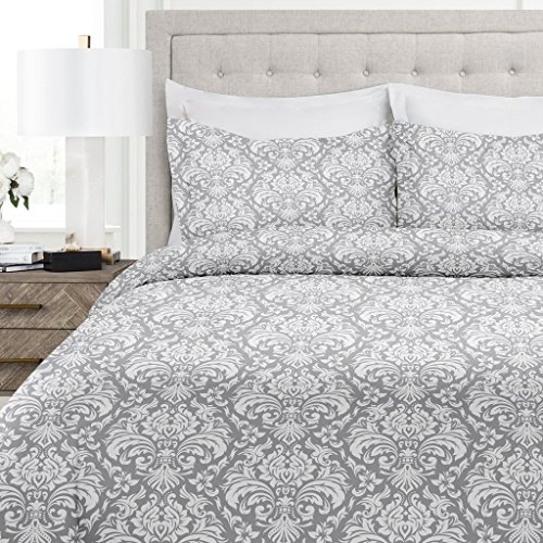 Italian Luxury Damask Pattern Duvet Cover Set – 3-Piece Ultra Soft Double Brushed Microfiber Printed Cover with Shams – King/California King – Light Gray/White
