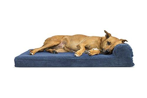 Furhaven Pet 43405065 Large Faux Fleece & Corduroy Chaise Lounge Orthopedic Sofa Pet Bed, Navy Blue
