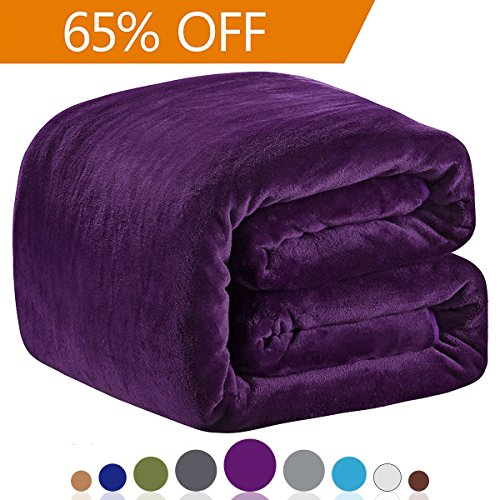 Polar Fleece Blankets Queen Size for The Bed Extra Soft Brush Fabric Super Warm Sofa Blanket 90″ x 90″(Purple Queen)