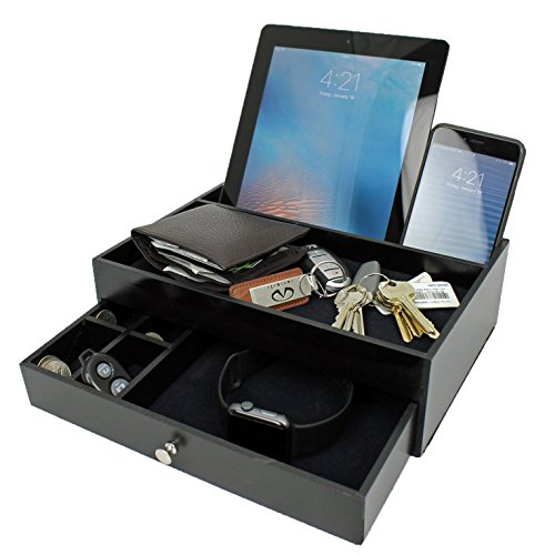 Mens Charging Valet Key Tray – Night Stand Dresser & Jewerly Box Organizer for Men as a Black Wood Modern Looking Holder Cell Phone Charging Station Night Stand Keys Watch Organizer – Gift Idea