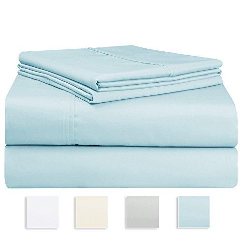 1000 Thread Count Sheet Set, 100% Long-staple Cotton Light Blue King Sheets, Sateen Weave Bedsheets, Stylish 4-inch hem, Upto 17 inch Deep Pockets by Pizuna Linens (100% Cotton Sheet Set, Blue King)