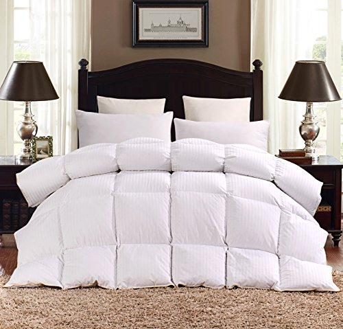 ROSECOSE Luxurious Heavy Goose Down Comforter Queen Size Duvet Insert All Seasons Hypo-allergenic 1200 Thread Count 750+ Fill Power 100% Cotton With Tabs Classic Stripe (Queen, Classic Stripe)