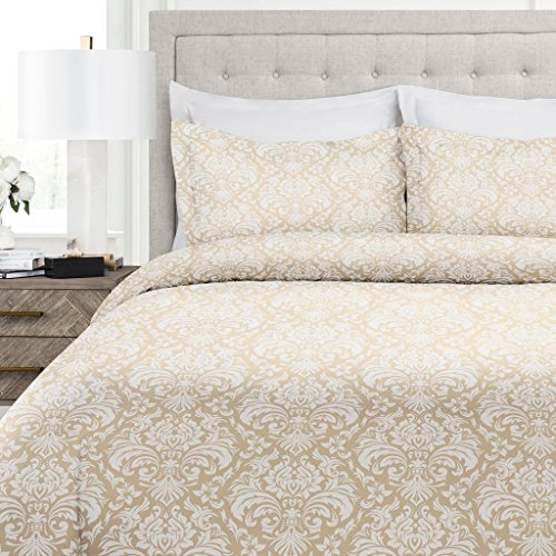 Italian Luxury Damask Pattern Duvet Cover Set – 3-Piece Ultra Soft Double Brushed Microfiber Printed Cover with Shams – Full/Queen – Cream/White