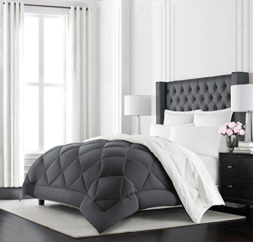 Beckham Hotel Collection Goose Down Alternative Reversible Comforter – All Season – Premium Quality Luxury Hypoallergenic Comforter – Full/Queen – Grey/White