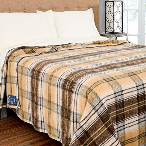 Poyet Motte Chevreuse Heavyweight Wool Blend Oversized Blanket, Machine Washable (King Size, Yellow Stripe)