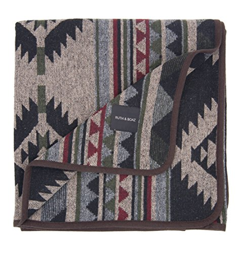 Ruth&Boaz Outdoor Wool Blend Blanket Ethnic Inka Pattern(L) (BURGUNDY, LARGE)